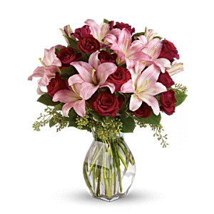 Pink lily red roses flower arrangement