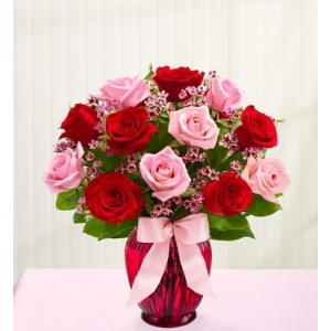 red pink roses flowers vase arrangement
