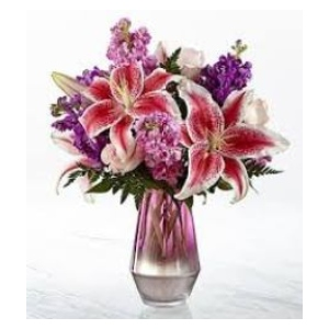 stargazer lily pink purple vase arrangement