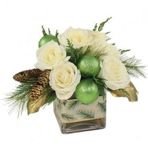 christmas flowers pine cones white roses ornaments