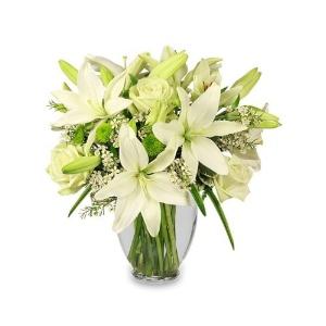 christmas flower arrangement lilies roses