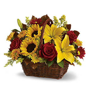 fall roses sunflowers basket flowers