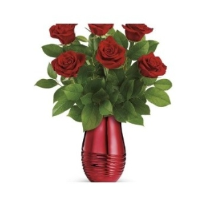 red vase red roses