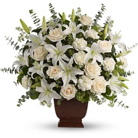 gorgeous white lilies and roses