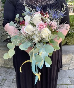 bouquet with white roses and eucalyptus