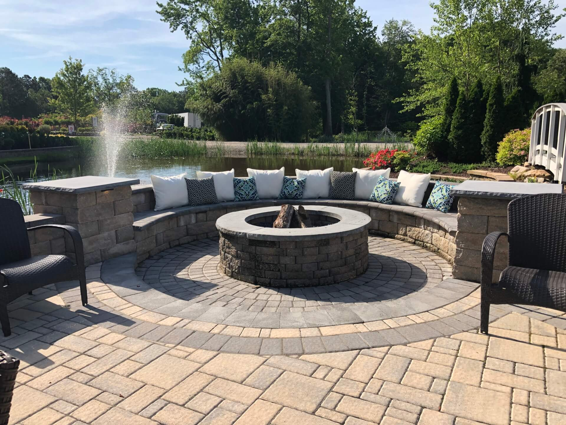 outdoor living, patio, stone, fire pit,