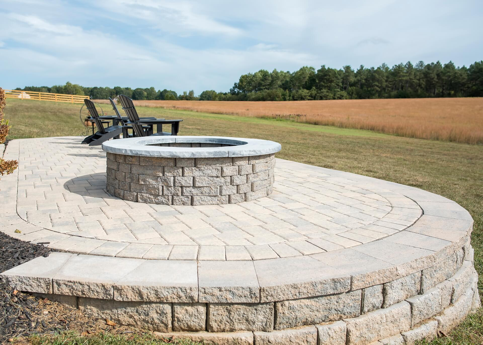Landscape, hardscape, stone patio, pavers, outdoor living, patio, entertaining outdoors, landscape design, fire pit