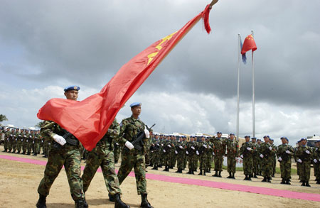Chinese Contingent of the United Nations Mission in Liberia (UNMIL) during a medal ceremony held today (06/20/2008) in the Liberian capital, Monrovia. UN Photo/Eric Kanalstein