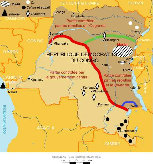 DRC map, coltan, minerals, and areas of Ugandan and Rwandan activity marked