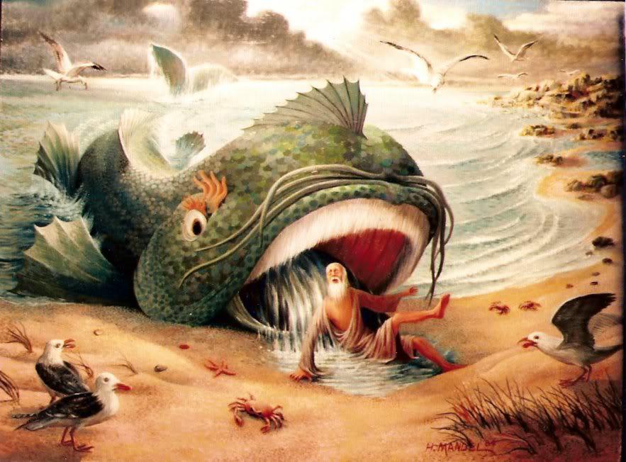 Prorok jonasz wychodzi z ryby