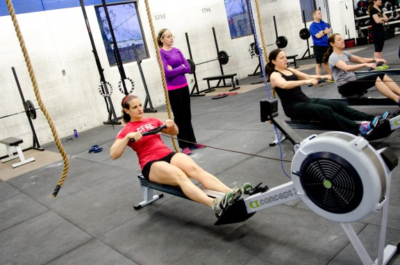 Warmup or cooldown, 3 minutes on the rower is a good place to start.