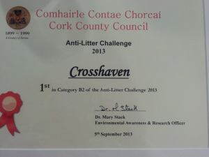 Crosshaven Tidy Towns litter challenge winners 2013