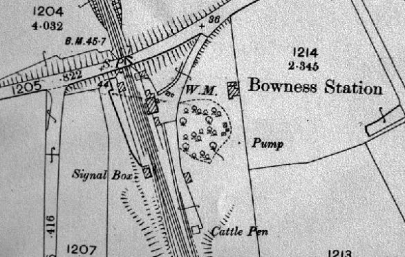 Detail from OS map showing Bowness Station complex (thanks to Cumbria Image Bank)