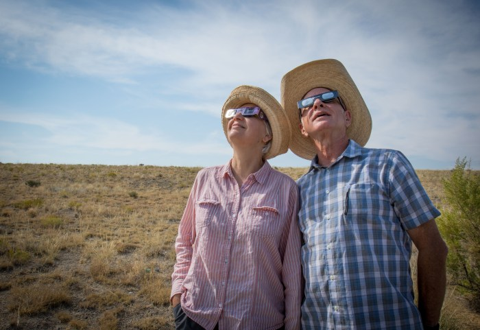 Joanne and Tom viewing eclipse.