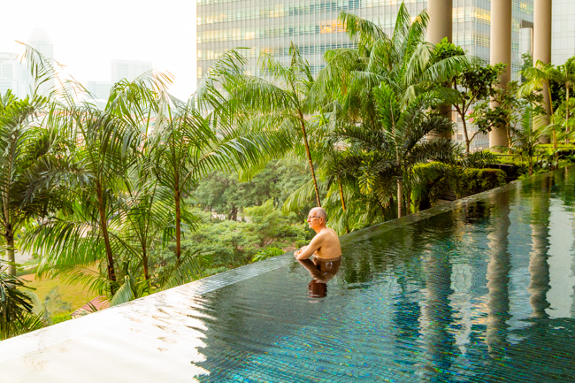The infinity pool at the Parkroyal Hotel.