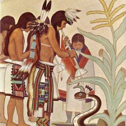 Fred Kabotie painting of Hopi flute dancers in deep attention to the Water Serpent. This represents the focus used in ceremony to bring rain to their arid high desert so the corn will grow.