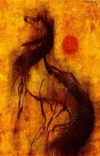 Painting of horse looking up and orange sun represents spirit horse, medicine animal, mystic vision retreat