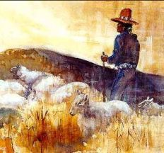 Navajo sheepherder on horseback painting. This represents clear focus and wisdom of people who work on the land.