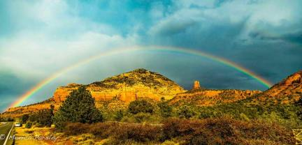 Rainbow over Thunder Mountain in Sedona, Arizona--represents the beauty of nature that opens the heart and stimulates earth-spirit pracrtices of gratitude and reciprocity.