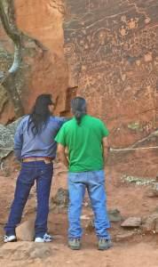 Hopis visit V Bar V rock art panel, on of their sacred ancestor sites