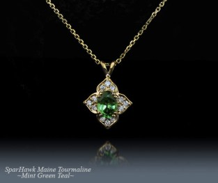 SparHawk Maine Tourmaline and Diamond Pendant - Reference Number: F5826