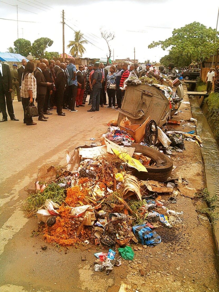 Governor Ayade inspecting a garbage dump in Calabar in June after his inauguration
