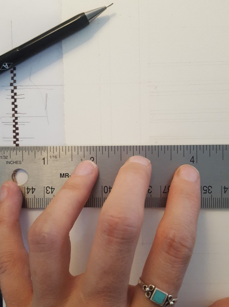 Ladder of nib widths at the left of the photo