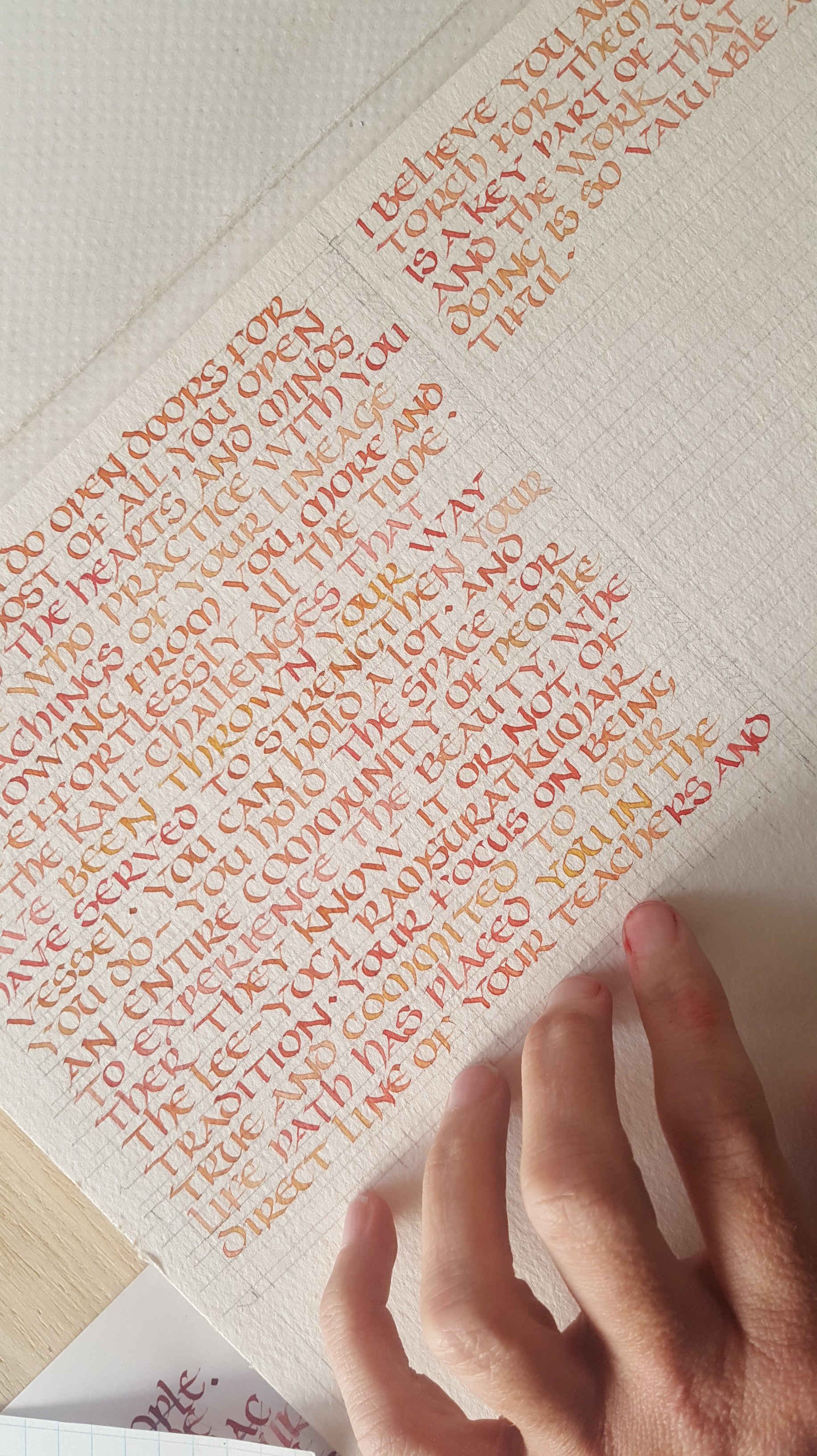 Orange Text in Uncial Calligraphy