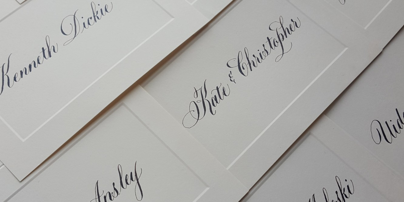 Place cards written by hand in calligraphy by Case Sensitive Designs LLC