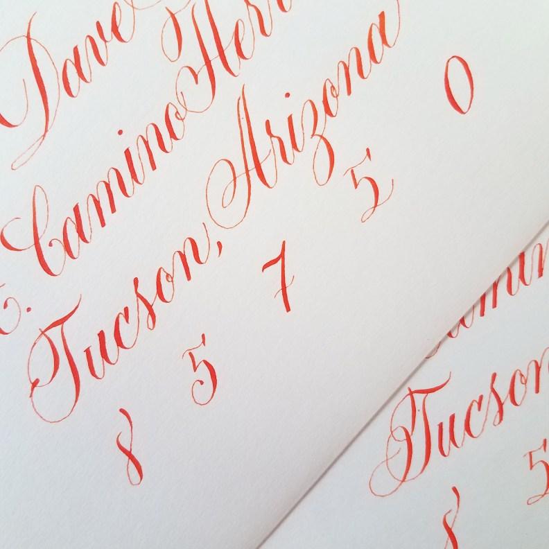vermillion wedding envelope calligraphy