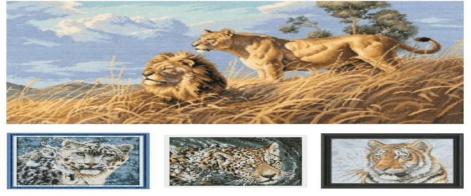 Big Cats in Cross Stitch Kits