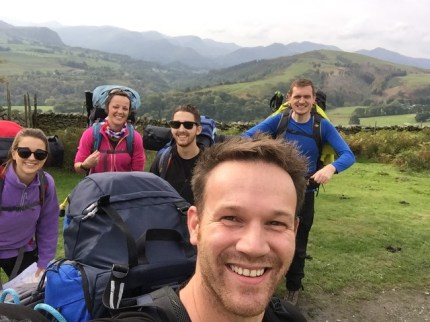 Mick Fenwick and the Cross the UK team conquering Blencathra