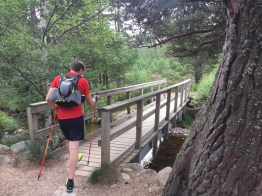 Finding the path through and leaving Glenmore on our Lairig Ghru trail run