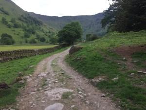 Farm track before the climb to Dove Crag