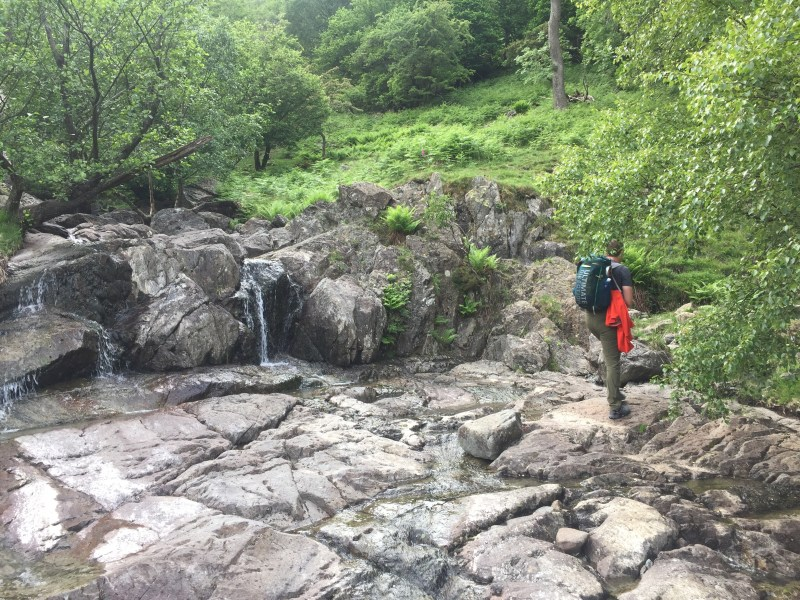 Small waterfall at Dovedale Beck en route to the Priest's Hole on Dove Crag