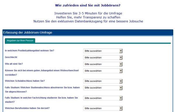 Jobbörsen-Nutzerumfrage von CrossPro-Research.com