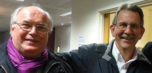 Jeff Dickey-Chasins (rechts) und Gerhard Kenk (links) beim Branchenplausch in London