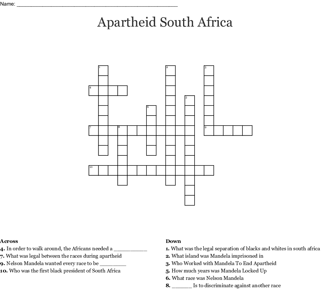 Printable Crossword Puzzles South Africa