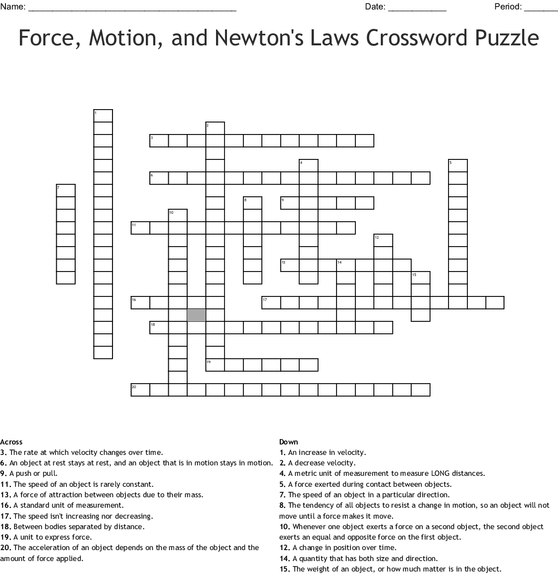 Physics Crossword