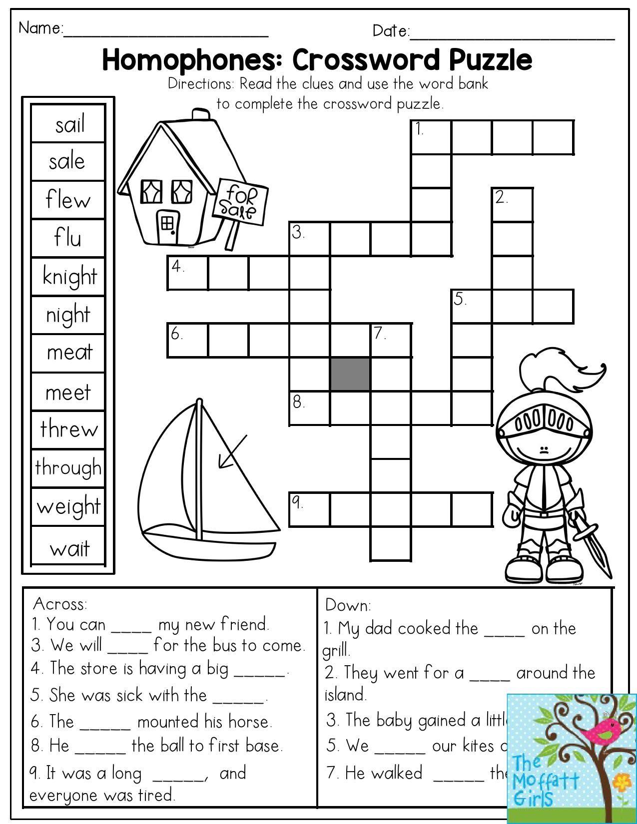 Printable Crosswords For 1st Grade
