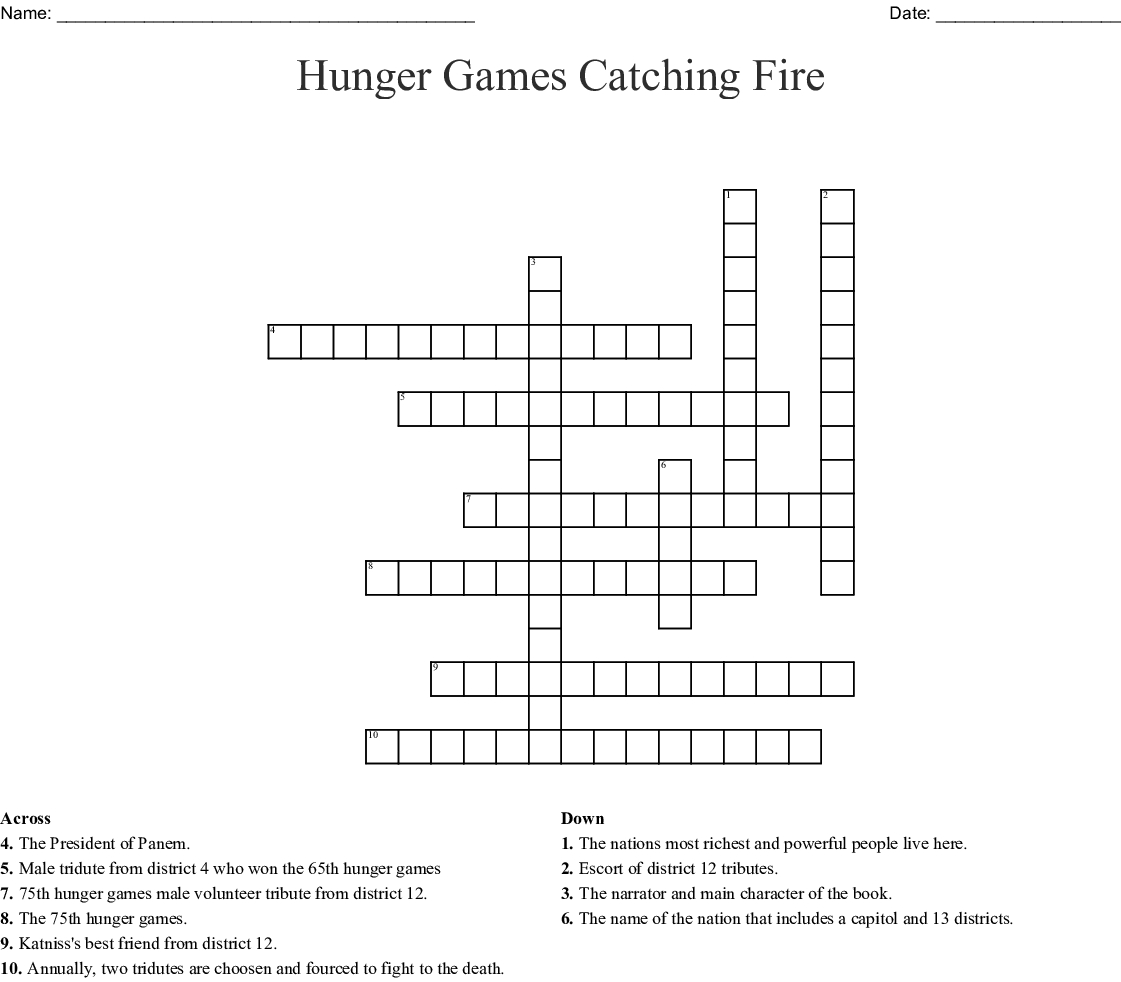 The Hunger Games Chapters 1 And 2 Crossword