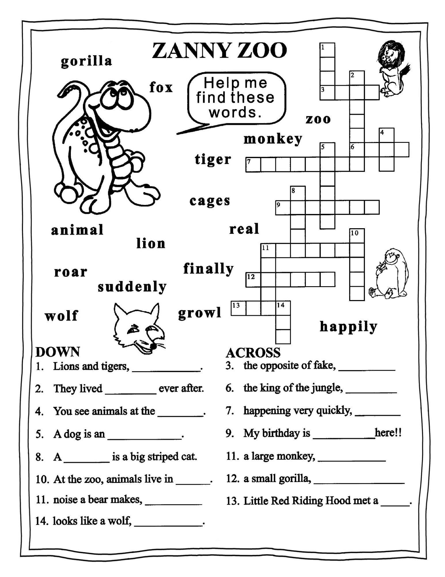 Worksheet English Puzzle