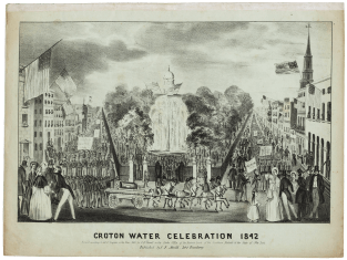 """Cover of the sheet music of The Celebrated Croton Ode, """"written at the request of the Corporation of the city of New-York by George P. Morris, Esq. and sung in front of the park fountain by Mrs. Strong, Miss J. Pearson, Mr. J. Pearson, and the members of the N.Y. Sacred Music Society, on the completion of the Croton Aqueduct., October 14th, 1842."""""""