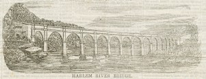 "Wood engraving of the design for the ""Harlem River Bridge"" from the newspaper Dollar Weekly, October 22, 1842."