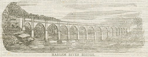"""Wood engraving of the design for the """"Harlem River Bridge"""" from the newspaper Dollar Weekly, October 22, 1842."""