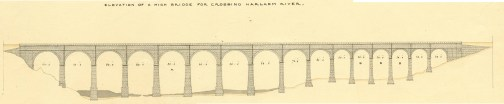 Elevation of a high bridge for crossing Harlem River by John B. Jervis. Jervis Library.