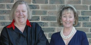 """Clarissa Dickson Wright photographed with Kathy Gore, in 2008  when she gave a talk for FSH on her book """"Spilling the Beans"""""""