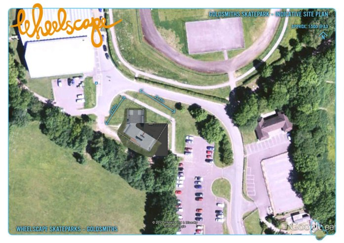 Map showing location of new skatepark at Goldsmiths in Crowborough