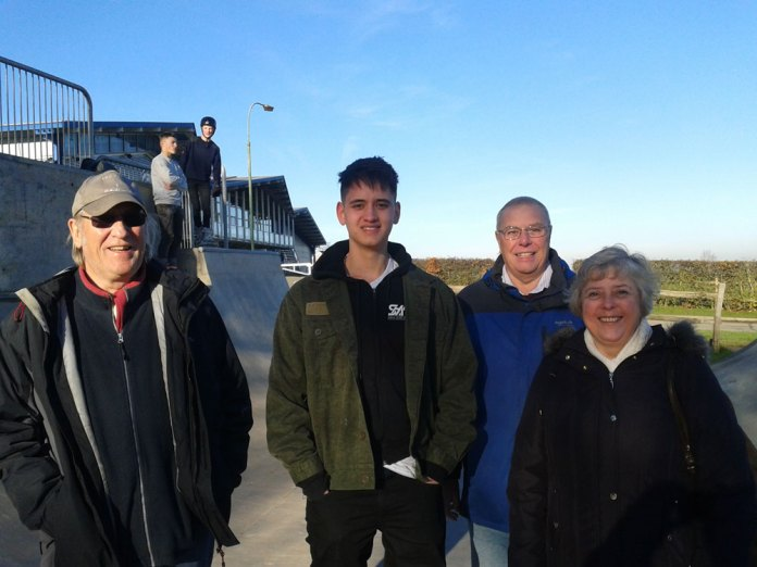 Official opening of the skatepark on 6th December. In the photo, pictured with Tommy Chamberlain (who coordinated the user group), is from left to right, Councillors Quentin Burch, Mayor Ron Reed and Kay Moss (Chair of the Sport, Recreation and Cemetery Committee).