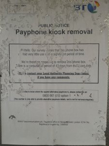 Sign in the Phone Box notifying users of the proposal removal